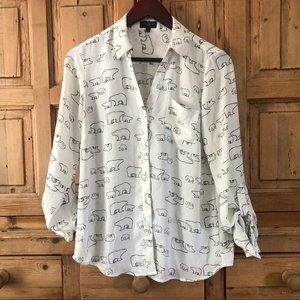 The Limited S Ashton Polar Bear  Blouse